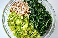 Just a Taste | Shredded Kale and Brussels Sprout Salad with Lemon Dressing | http://www.justataste.com