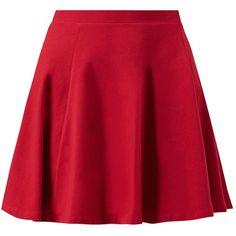 Red Skater Mini Skirt ($9.07) ❤ liked on Polyvore featuring skirts, mini skirts, red flared skirt, flared skirt, short skater skirt, mini flare skirt and red flare skirt