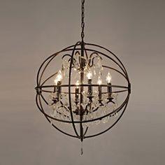 Foucault's Orb Crystal Iron 6 Light Chandelier