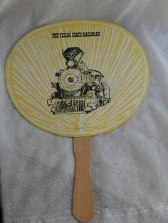 Texas State Railroad Souvenir Cardboard Fan by MendozamVintage