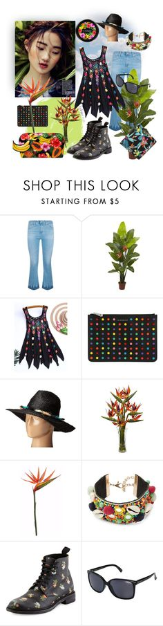 """""""tropical with combat boots. I love this top!"""" by caroline-buster-brown ❤ liked on Polyvore featuring AG Adriano Goldschmied, Nearly Natural, Givenchy, BCBGMAXAZRIA, MAC Cosmetics, Design Lab, Yves Saint Laurent, VonZipper and Matthew Williamson"""