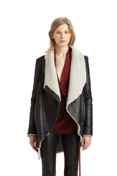 Shearling  Helmut Lang Weathered Leather Shearling Coat, $2,195; saks.com    This is LOVE.