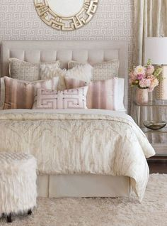 Master bedroom idea - cream, gold, silver color scheme with pink accent