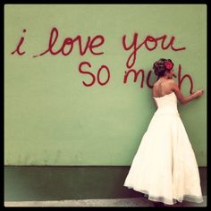 "idea is cute i like the idea of it saying, ""i love you this much"" and have the brides arms stretched out"