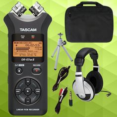 Tascam DR-07mkII with headphones bundle.  Buy it here: http://www.sonicsense.com/tascam-dr-07mkii-with-accessories-bundle.html