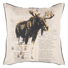Pillow with a moose and text motif.     Product: Pillow Construction Material: Polyester Color: Khaki...