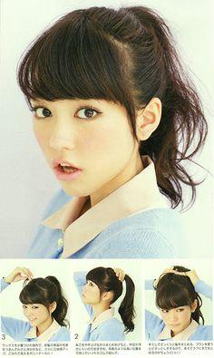 "Model / Mirei Kiritani. Japanese girls fashion magazine ""non-no"". girlish & cute hair style."