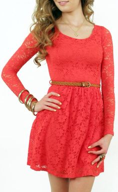 Cute lace dress with belt