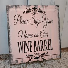 Guest WINE BARREL Wedding Sign/Please Sign by gingerbreadromantic, $24.95