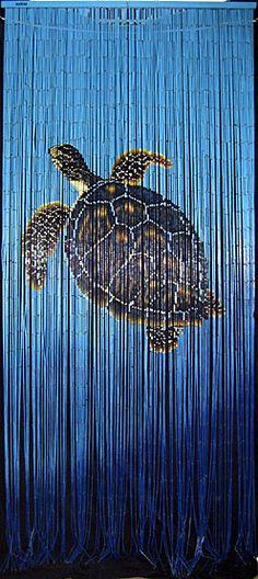 Bamboo doorway beads curtain with Hawaiian sea turtle