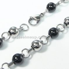 Stainless Steel Black White Bead Chain Men Necklace 8mm