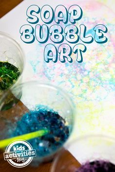 Blowing bubbles to make bubble art is a great way to discuss hyperbolic pressure… or to just enjoy making a mess creating colorful designs with your kiddos.