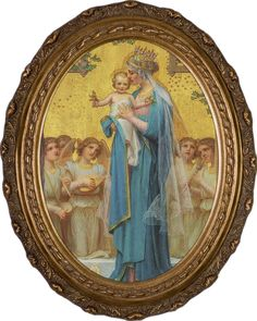 Nelson Fine Art and Christian Gifts Oval Detailed Madonna and Child by Enric M. Vidal Canvas Framed Art Picture Available is three sizes: 8x10, 12x16 or 16x20. This simple yet moving work by late 19th