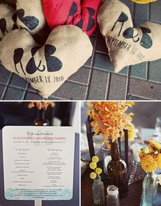 Screen printed burlap pillows you can let people take home with them. {Jagger Photography}
