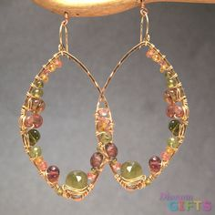 """Peridot, mandarin garnet, orange sapphire, and pink tourmalinewrapped onto hammered marquise shapes, 2-3/4"""" Earring Gold Or Silver"""