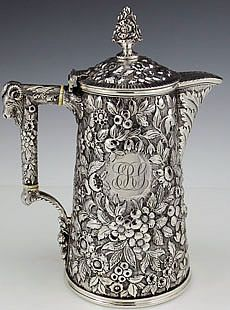 Bailey and Co Philadelphia antique coin silver chocolate pot repousse with ram on handle