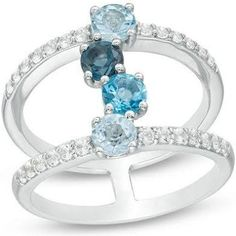 Zales Sky, Swiss and London Blue Topaz and Lab-Created White ...