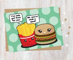 Flirting Fast Food Card  Funny Love Card Kawaii by AlluringPrints