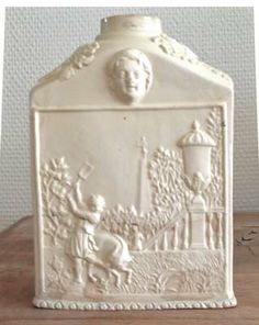 A Rare Large Creamware Tea Caddy with moulded Gay's Fable Decoration of the Gardener and the Hog, Derbyshire, Circa