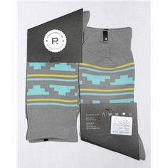 Grey Light-Blue Yellow Geometric Stripe Mens Dress Sock - Richer Poorer