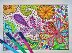 Coloring Page Printable - Zentangle Inspired Coloring - Zendoodle - Instant Download - Coloring Page D