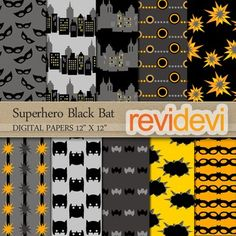 Superhero papers digitals in black and yellow colors scheme. Superhero Black Bat 10073.Set of 10 in black, gray, and yellow.These digital papers are great for teachers and educators for creating their school and classroom projects such as for background for bulletin, announcement, learning worksheet, craft materials, cards, paper goods, and for more fun projects.Format: JPG (300dpi).Size: each is 12 x 12 inch.TERMS OF USEFor TEACHERS AND EDUCATORS:You can use my products personally…