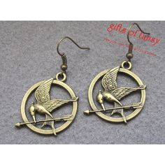 MockingJay Earring  Antique Bronze Mocking Jay Earrings, Bird with arrow earrings, Hunger Games Earrings, Best Gift for Girlfriend-E018   ❤ liked on Polyvore (see more pendant earrings)