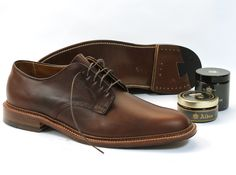 Alden Men's Plain Toe Blucher Flex in Dark Brown Aniline Pull-Up Style #: 29364F | Available at www.TheShoeMart.com