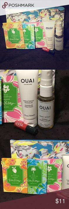 ISPY 7 Pc Leftover Health Beauty Bag Items ~NEW~ THIS IS AN ALL BRAND NEW 7 Pc Leftover items from ISPY Health Beauty And Bag Bundle. This Bundle includes: 1 ISPY Floral Bag. 2 OUAI Haircare Products. Treatment Mask & Wave Spray both are 1 fl oz. 1 Mini ULTA Lip Gloss and 3 LILLY PULITZER EAU DE PERFUME (Squeeze, Beach,Wink) .05 fl oz. THAT IS YOUR 7 Pc BUNDLE. Thank you for looking. ULTA Makeup