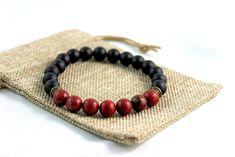 Men's Black Obsidian & Red Jade Bracelet