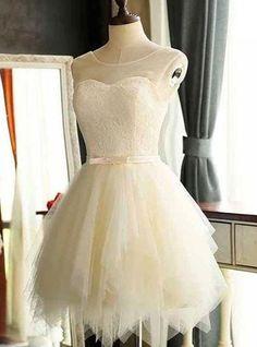 Cute Illusion Neck Mini Length Lace Bodice Little White Dresses,Short Wedding Dresses,Simple Homecoming Dresses