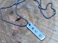 sun moon and stars necklace  personalized celestial pendant