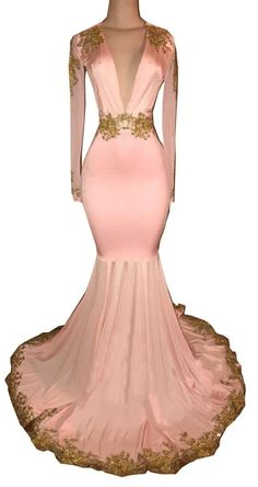 fc8d1a3d28841 Irenwedding Womens Modest Prom Dress Mermaid V Neck Sleeves Gold Appliques  Train Evening Gowns Pink US10    Want to know more