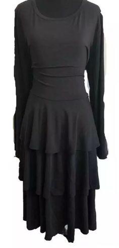 debcaa607e851 NWT LuLaRoe GEORGIA Solid Black FLIRTY Long Sleeve Ruffle Tiered Dress 3XL  3X #fashion #