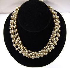 Miriam Haskell Signed 6 Strand Niki Baroque Pearl Necklace