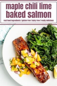 Healthy Dinner Recipes, Real Food Recipes, Lime Salmon Recipes, Clean Eating Salmon, Paleo Chili, Chili Lime, Baked Salmon, Main Dishes, Gluten