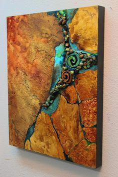 "CAROL NELSON FINE ART BLOG: Mixed Media Geologic Abstract Painting, ""Artifacts"" © Carol Nelson Fine Art"