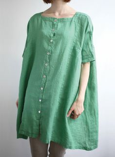 Green linen baggy shirt