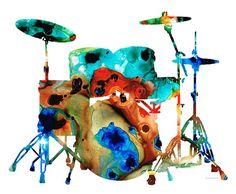 Batterie Art PRINT de peindre tambour Set Rock And Roll Band musique coloré toile prête à accrocher des gros oeuvre coloré musicien abstrait cadeau