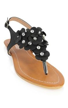 flat sandal with flower front