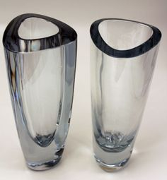 Triangular art glass vases with typical Stromberg cut edge and a very light blue shade