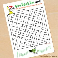 Click here to download a FREE Printable Dr. Seuss Green Eggs and Ham Maze!