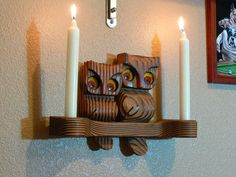 Handmade Wooden Owl Candle Stick Holders   MG150 by MasterGreig,