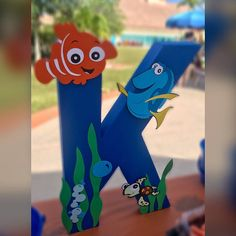 Finding Nemo Finding Dory Stand up Letter Finding Nemo Birthday Letters, 1st Boy Birthday, 2nd Birthday Parties, Finding Nemo, Baby Shower Decorations For Boys, Names Baby, Girl Names, Carters Baby, Baby Boys