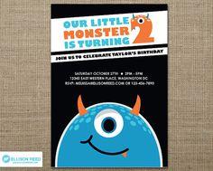 Little Monster Invitation - Monster Bash - Monster Printable - Printable Party - Halloween - 2nd birthday - Boy Birthday - Blue - Orange. $16.00, via Etsy.