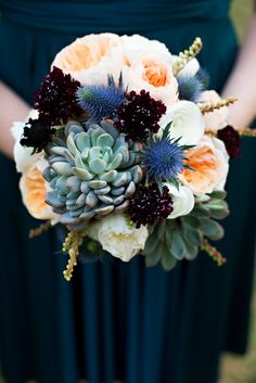 Succulent English Roses, and Thistle bouquet