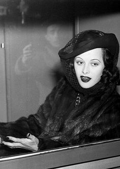Hedy Lamarr in a hat with veil, 1945