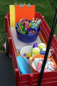 "Summer fun for the kids.....I love the idea of locking the kids outside with a wagon like this and letting them figure out how to stay busy....it could be the ""I'm bored"" wagon.  ;)"