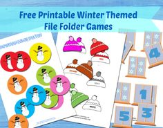 Winter File Folder Games - Itsy Bitsy Fun - Free Printables for all occasions Preschool Themes, Preschool Printables, Free Printables, Preschool Centers, File Folder Activities, File Folder Games, File Folders, Fun Learning, Learning Activities