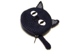 Crochet Cat Coin Purse by jamieleecreation on Etsy Diy Crafts Crochet, Crochet Gifts, Crochet Dolls, Crochet Yarn, Crochet Projects, Crochet Wallet, Crochet Coin Purse, Diy Coin Purse, Coin Purses